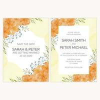 bröllop inbjudningskort med guld blomma akvarell illustration