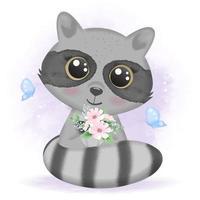 süßer Baby-Waschbär, der einen Blumenstrauß hält vektor