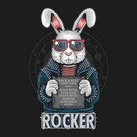Punkrocker-Kaninchen, das ein Zeichen hält vektor