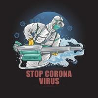 Sci-Fi-Arzt mit einer Desinfektionsmaschine gegen Coronavirus