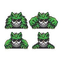 uppsättning av grön bulldog tecknad vektor