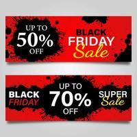svart fredag svart splatter banner designmall set vektor