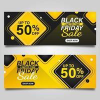svart fredag gul och svart banner design vektor