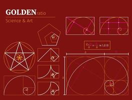 gyllene förhållandet diagram vetenskap och konst set vektor