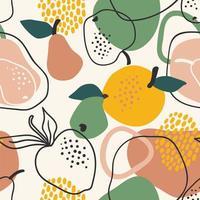 sömlösa mönster med äpplen och päron vektor