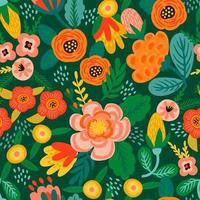 Volksblumen nahtloses Muster modernes abstraktes Design vektor
