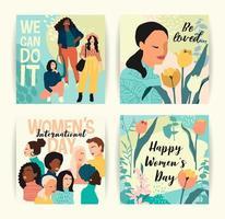 abstrakta kvinnor med olika hudfärgkort vektor