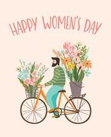 man levererar blommor för kvinnodagen vektor