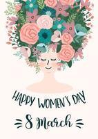 internationella kvinnodagen söta blommiga kort vektor