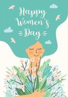 kvinnors dag söta blommiga kort vektor