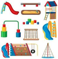 uppsättning barn lekplats i parken isolerade vektor