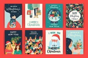 samling av jul och nyår gratulationskort