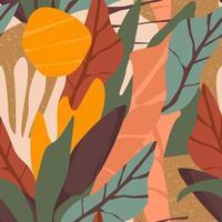 zeitgemäßes nahtloses Muster mit Blumen und Pflanzen