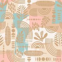 sömlösa mönster med abstrakta blad och geometriska former vektor
