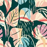 samtida sömlöst mönster med abstrakt bladverk vektor