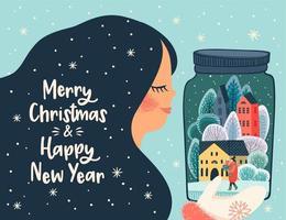 jul och nyår gratulationskort design vektor