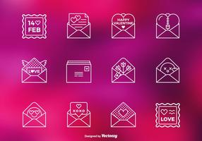 Valentinsgruß-Liebesbrief-vektorzeilen-Ikonen