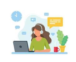 Frau, die von zu Hause aus arbeitet, Studentin oder Freiberuflerin
