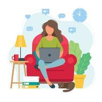 Frau, die von zu Hause aus auf einem Stuhl sitzt
