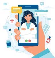 Ärztin auf dem Smartphone-Bildschirm vektor