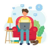 man som arbetar hemifrån sitter på en stol vektor