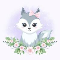 baby grå räv med blommor