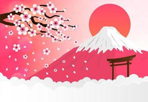 Kirschblüte, Fuji Gebirgshintergrund vektor
