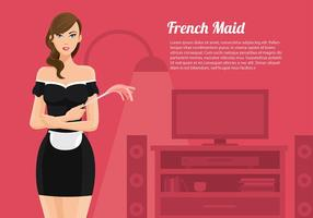 Fransk Maid Cartoon Vector Free