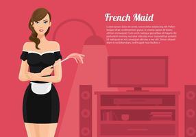 Französisch Maid Cartoon Vektor kostenlos