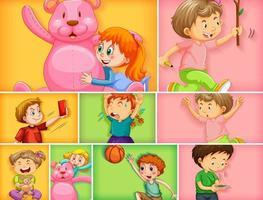 uppsättning av olika barnkaraktärer vektor