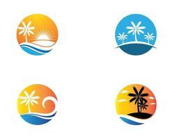 palm sommar symboluppsättning
