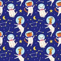 astronaut djur sömlös bakgrund vektor