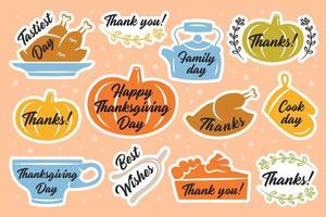 färgglada tacksägelse klistermärke eller etikettpaket