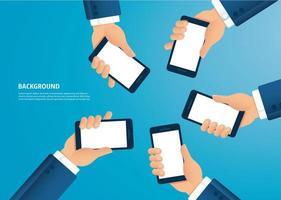 många händer som håller smartphones vektor