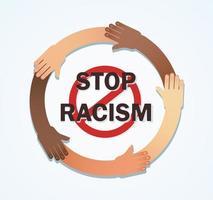 många händer av olika raser tillsammans i en cirkel