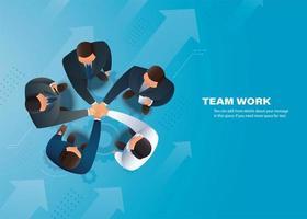 Draufsicht auf Händeschütteln von Geschäftspartnern vektor