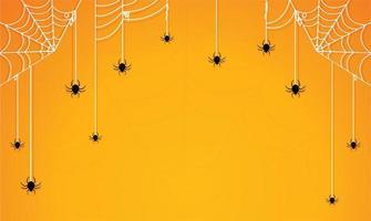 Halloween-Spinnen und Spinnennetze auf orangefarbenem Farbverlauf vektor