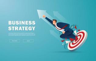 affärsman bryter igenom målet till framgång vektor
