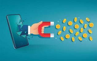 Hand hält Magnet, der durch Smartphone bricht, das Geld anzieht