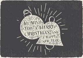 Freie Vintage Hand gezeichnete Weihnachtskarte mit Beschriftung vektor