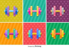 Dumbell glänzend vektor Icons