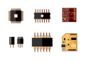 Mikrochip form vektor uppsättning