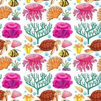 nahtloses Muster mit Meerestieren und Korallen vektor