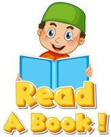 fras läsa en bok med barnläsning vektor