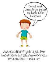 unge med peeche bubbla och alfabetet