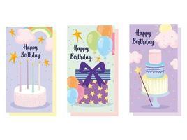 Grattis på födelsedagstårta ballonger vektor