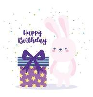 Alles Gute zum Geburtstag Kaninchen und Geschenkbox Überraschung