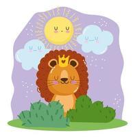 lejon med kronan sitter på gräset vektor