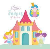 lilla älvprinsessor fantasy magiskt slott vektor