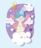Märchenprinzessin mit Zauberstab auf Wolken mit Herzen